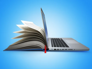 E-learning. Concept of education. Internet labrary. Book and Laptop. 3d